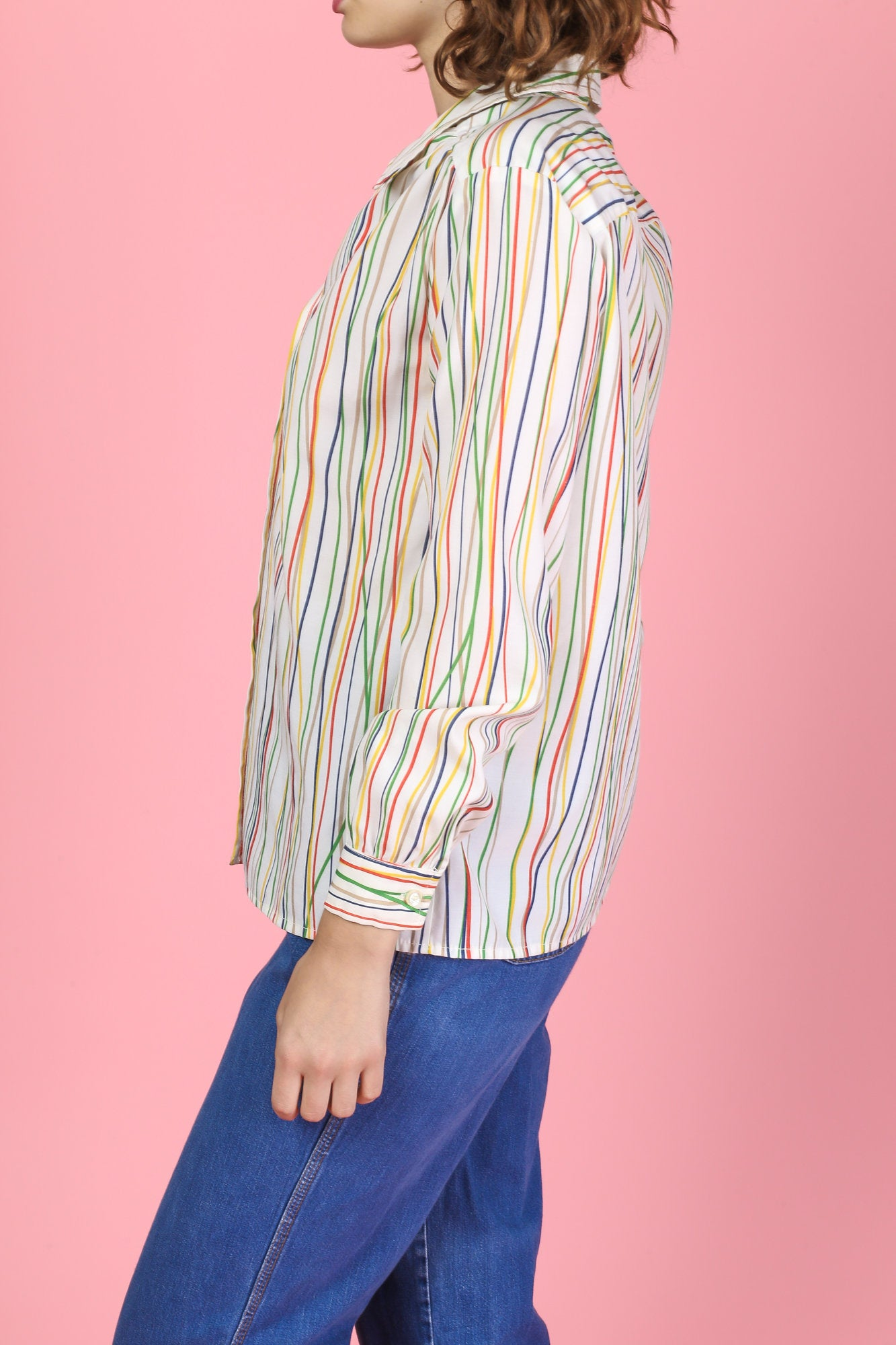 70s Colorful Striped Button Up Blouse - Large