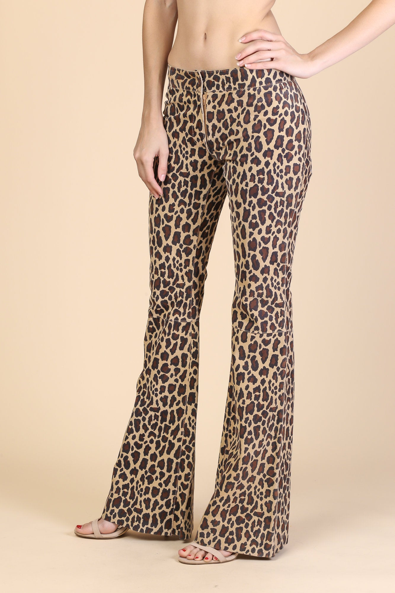 Vintage Dolce and Gabbana Suede Leather Flared Leopard Print Pants - Extra Small