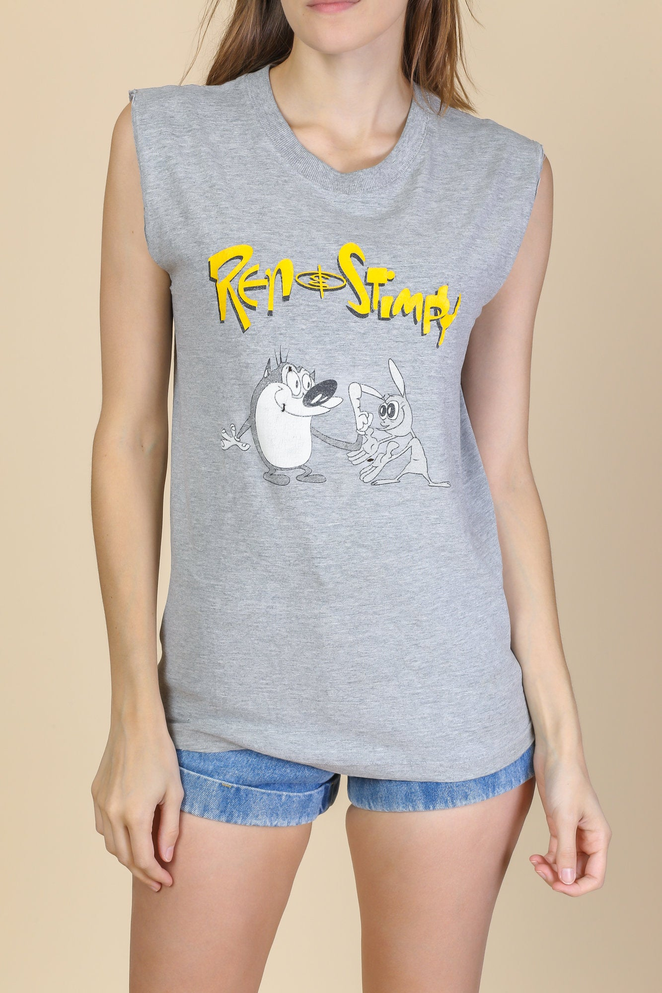 90s Ren & Stimpy Sleeveless Shirt - Small