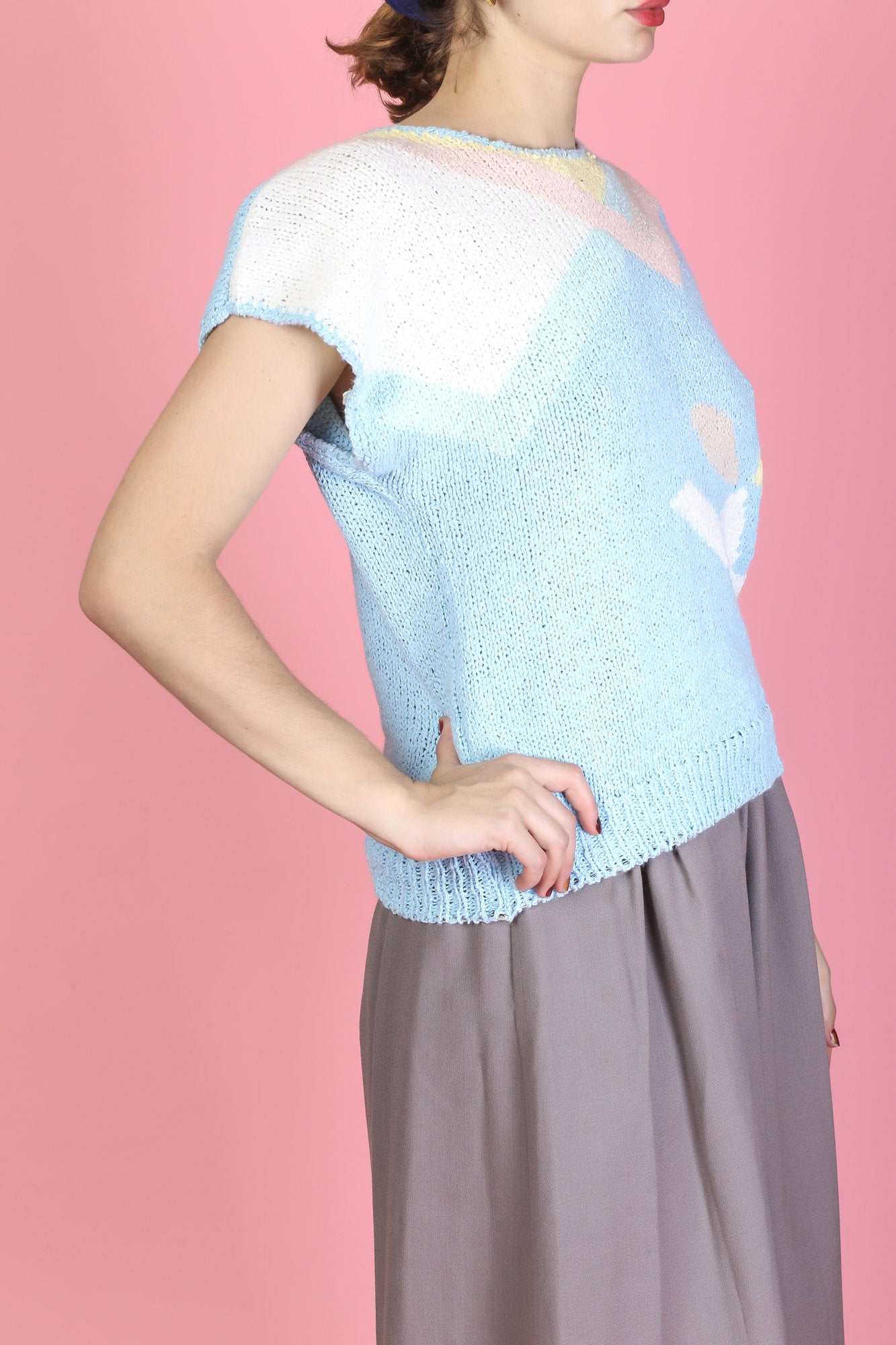 80s Cap Sleeve Knit Top - Small