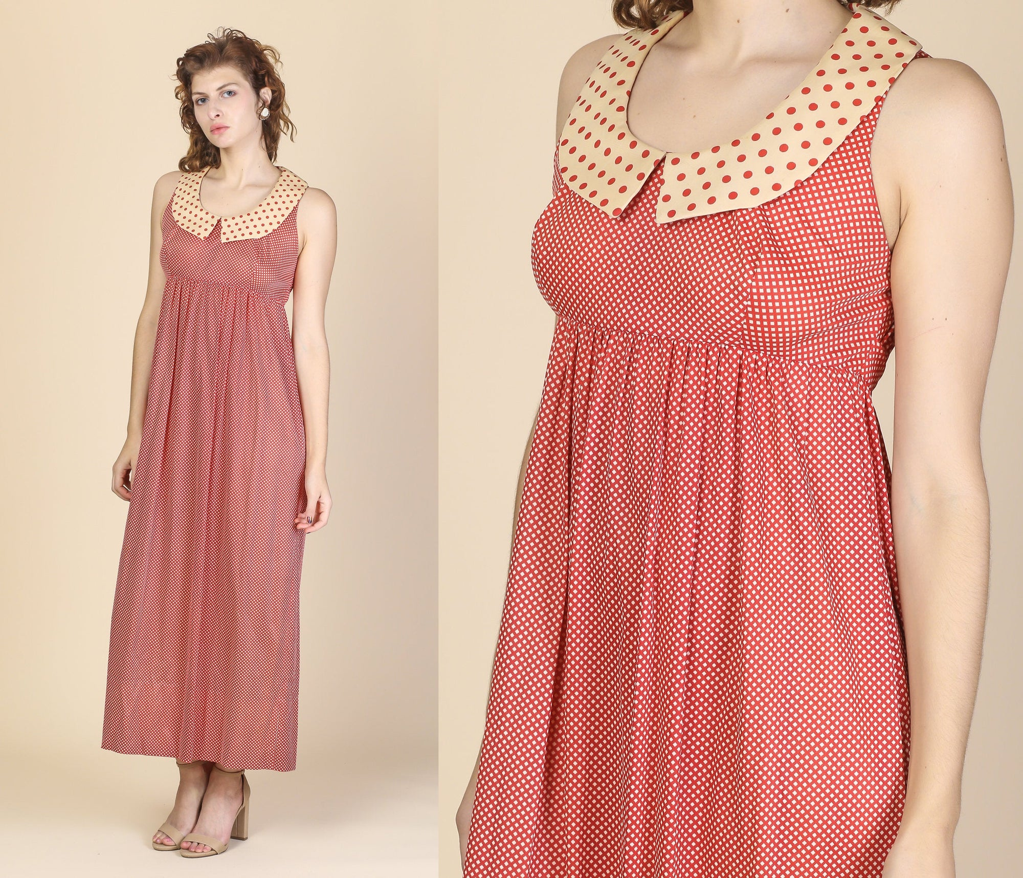 70s Polka Dot Empire Waist Dress - Small to Medium