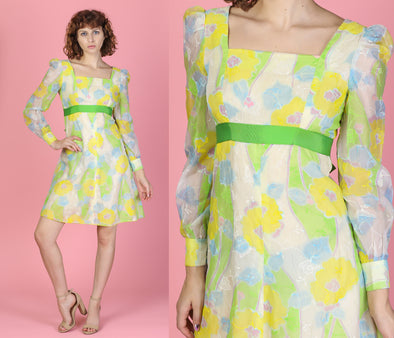 60s Floral Watercolor Mini Dress - Small