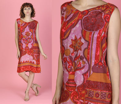 60s Boho Silk Shift Dress - Large