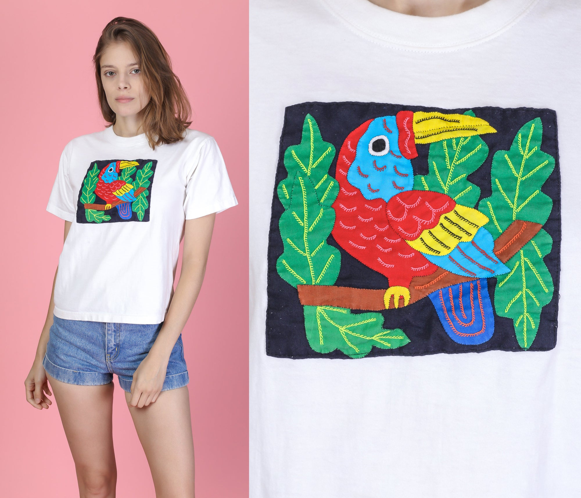90s Tropical Bird T Shirt - Extra Small