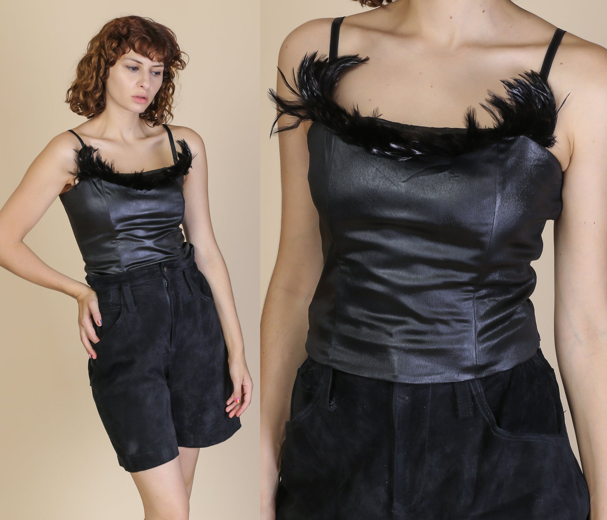 90s Feathered Black Gothic Cami - Medium