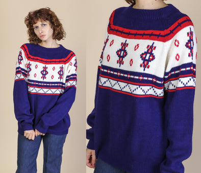 70s Navy Blue White Red Fair Isle Sweater - Extra Large
