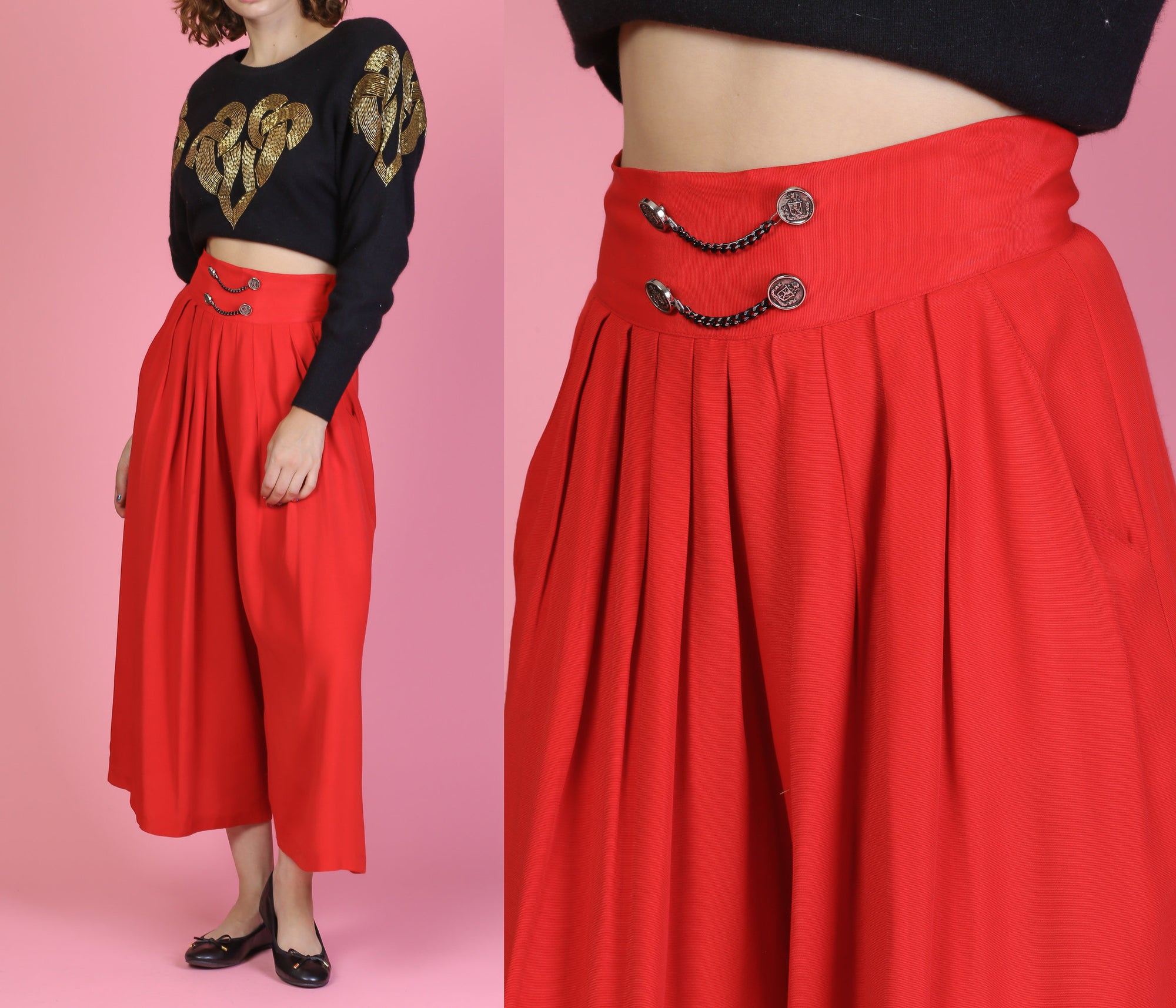80s Red Wide Leg Pleated Chain Palazzo Pants - Medium