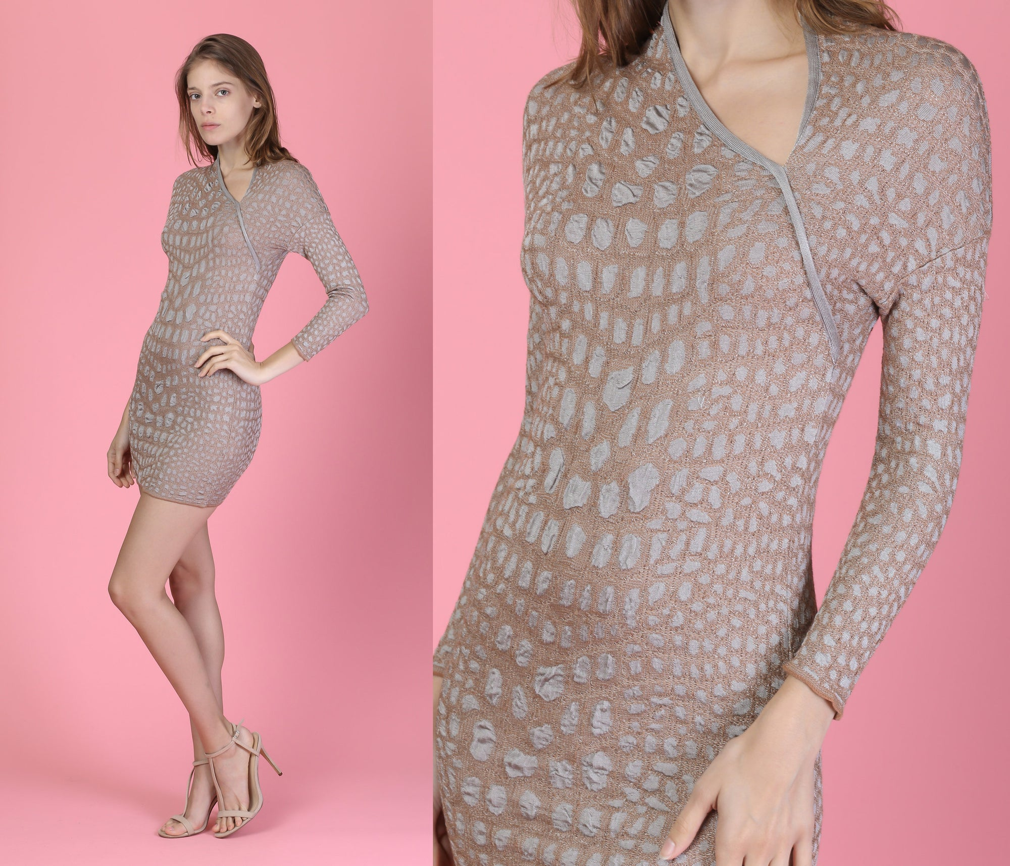 Vintage Missoni Alligator Print Knit Dress - Medium
