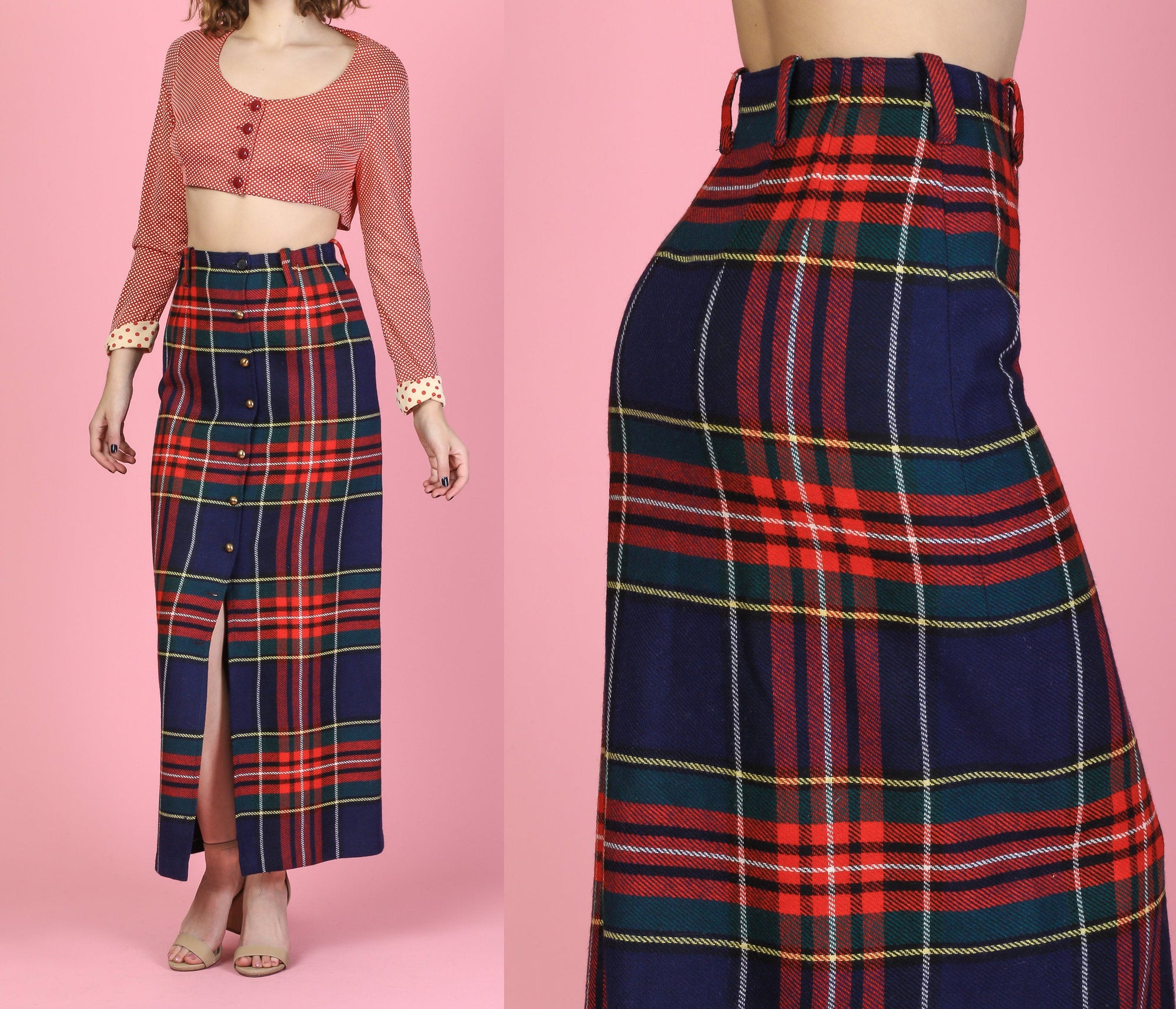 70s Plaid Button Up Skirt - XS to Small