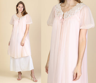 60s Sheer Peignoir Robe - Medium