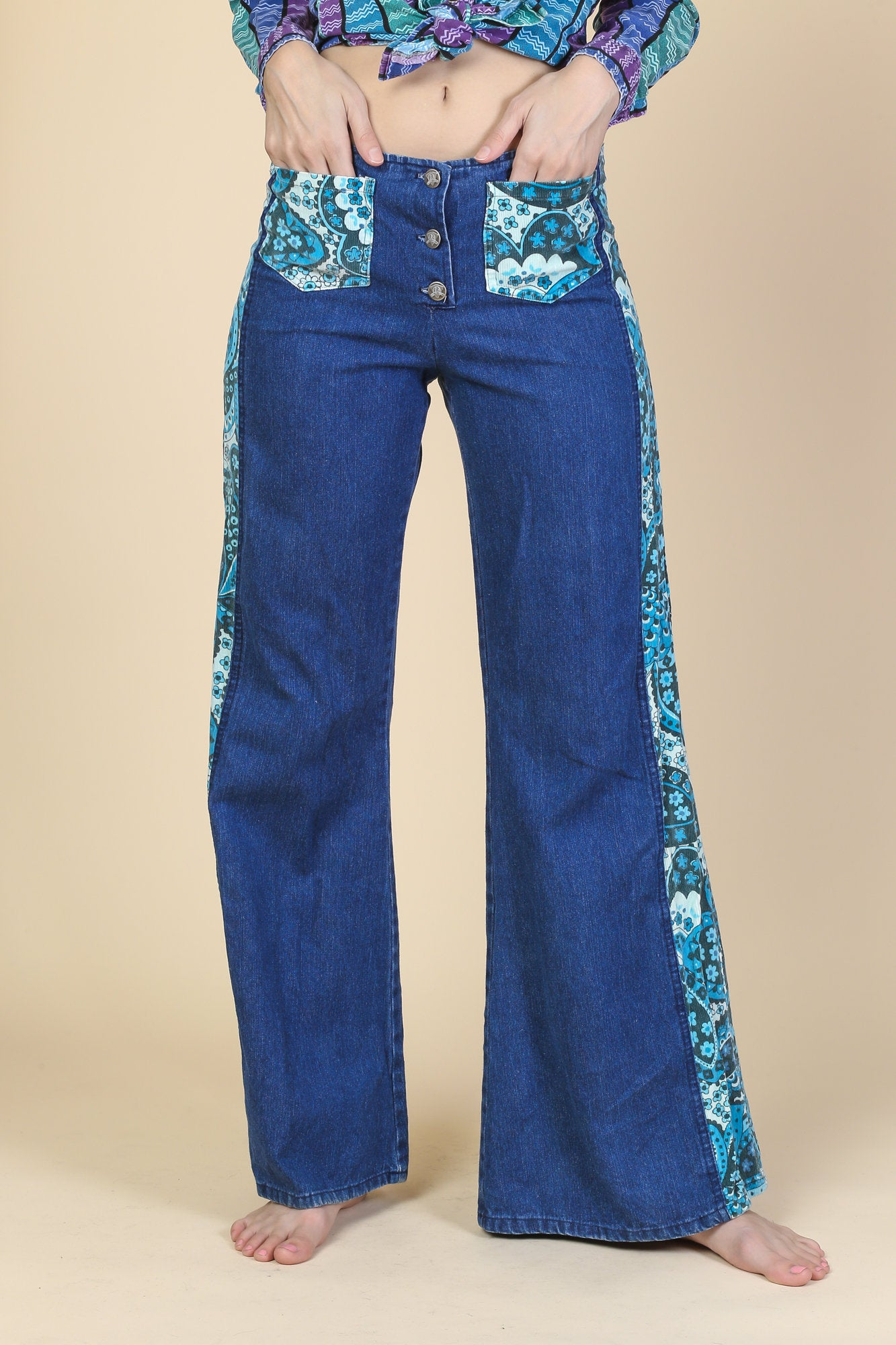 Vintage Hippie Bell Bottom Jeans - Small