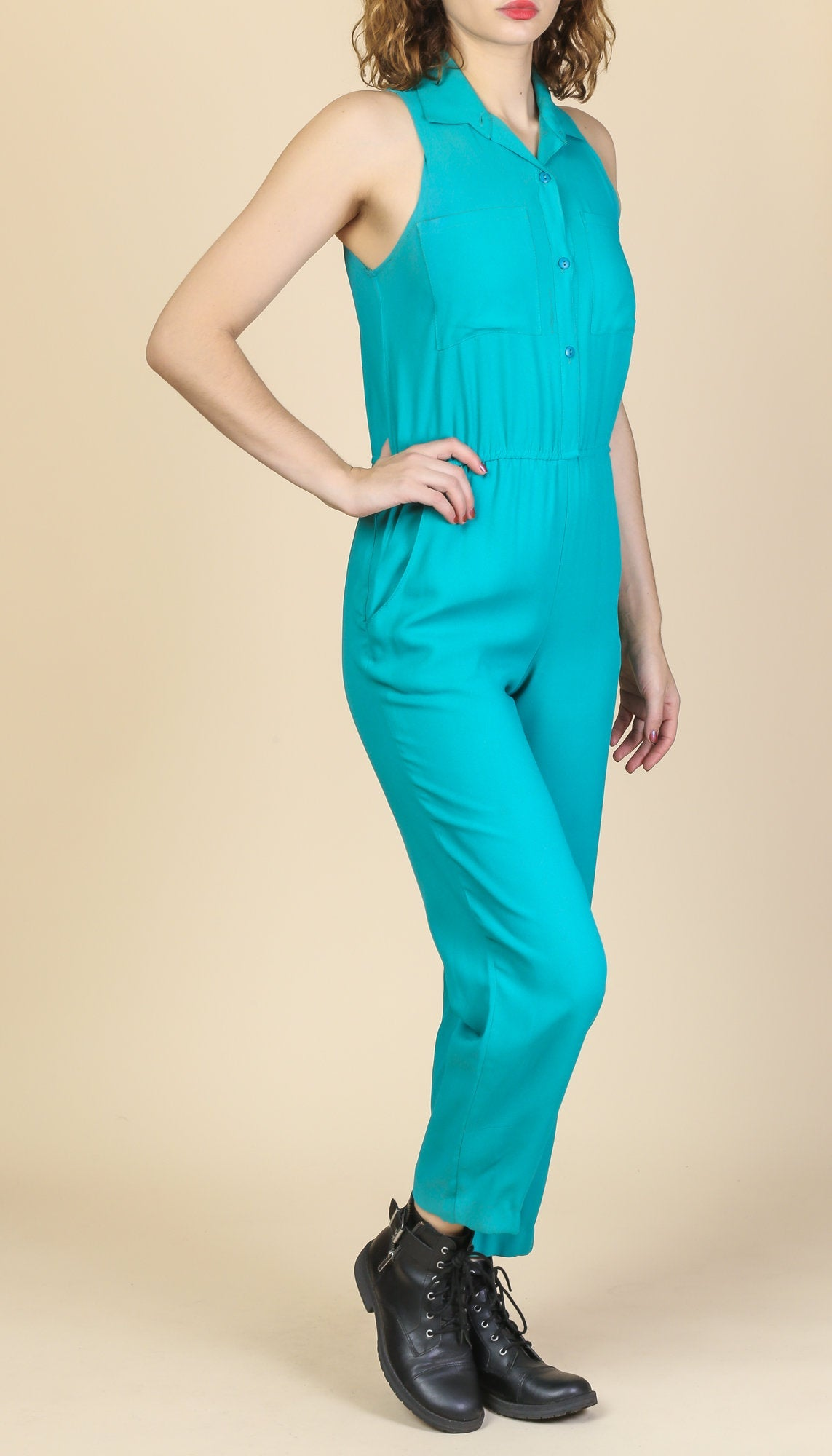 80s Teal Blue Jumpsuit - Small to Medium, Petite