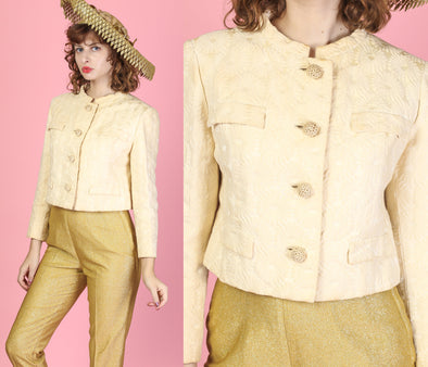 1960s I. Magnin Floral Embossed Jacket - Medium