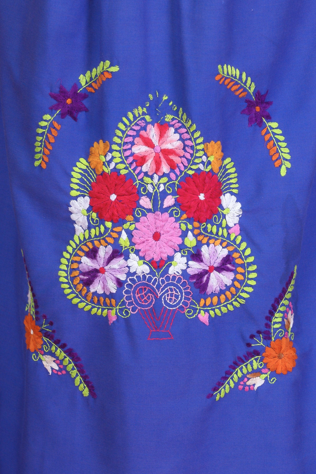Vintage Boho Embroidered Mexican Dress - Extra Large