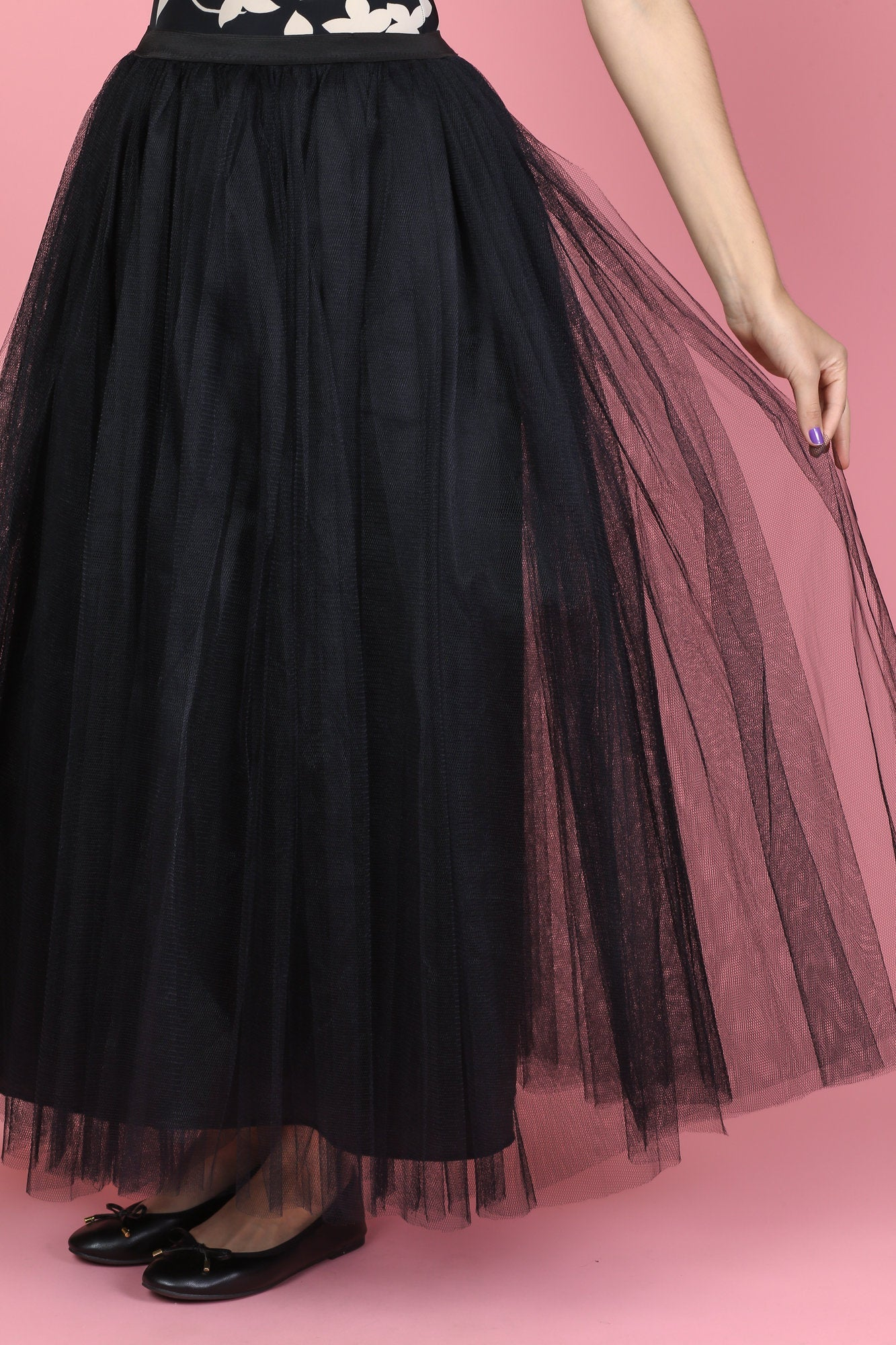 Vintage Black Tulle Maxi Skirt - Medium