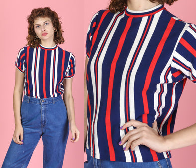 70s Red White & Blue Striped High Neck Top - Medium