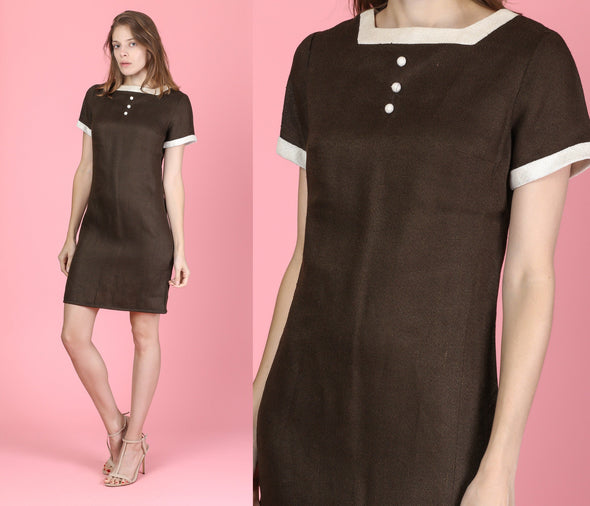 60s Stacey Ames Mod Mini Shift Dress - Small
