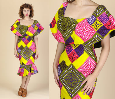 Vintage African Ankara Print Bodycon Cape Dress - Extra Small