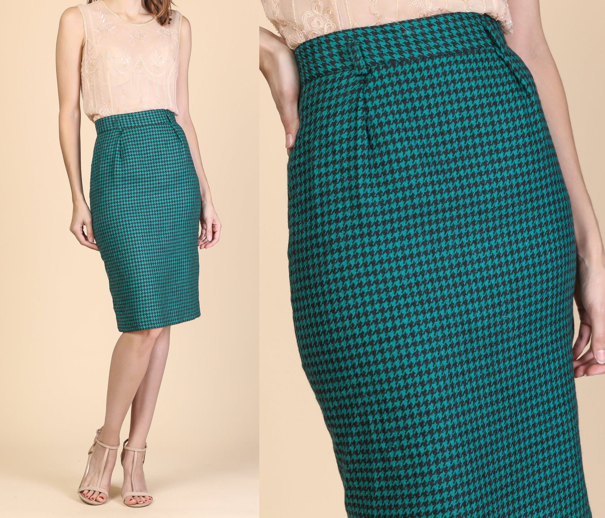 80s Houndstooth Pencil Skirt - Extra Small