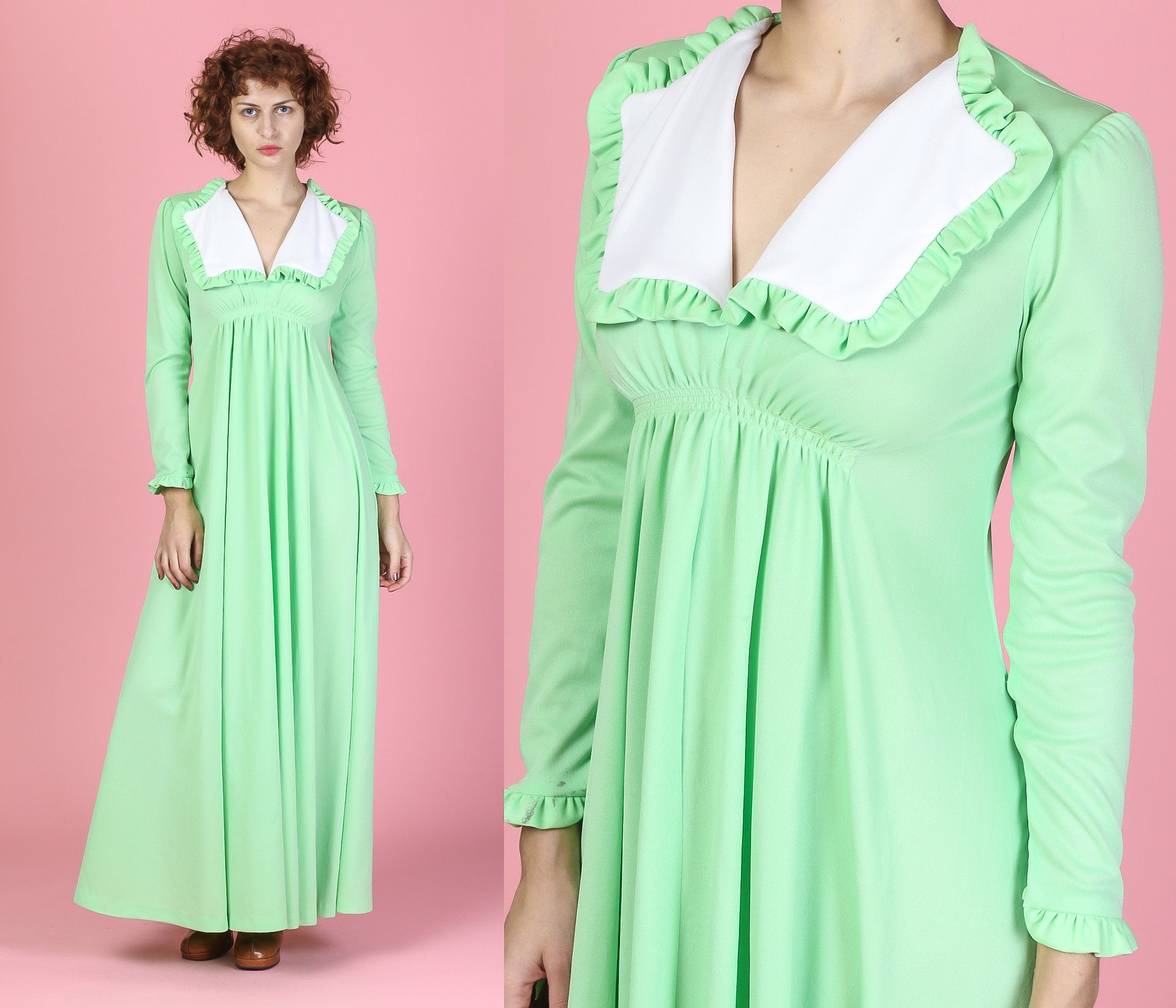 70s Mint Green Maxi Dress - Small to Medium