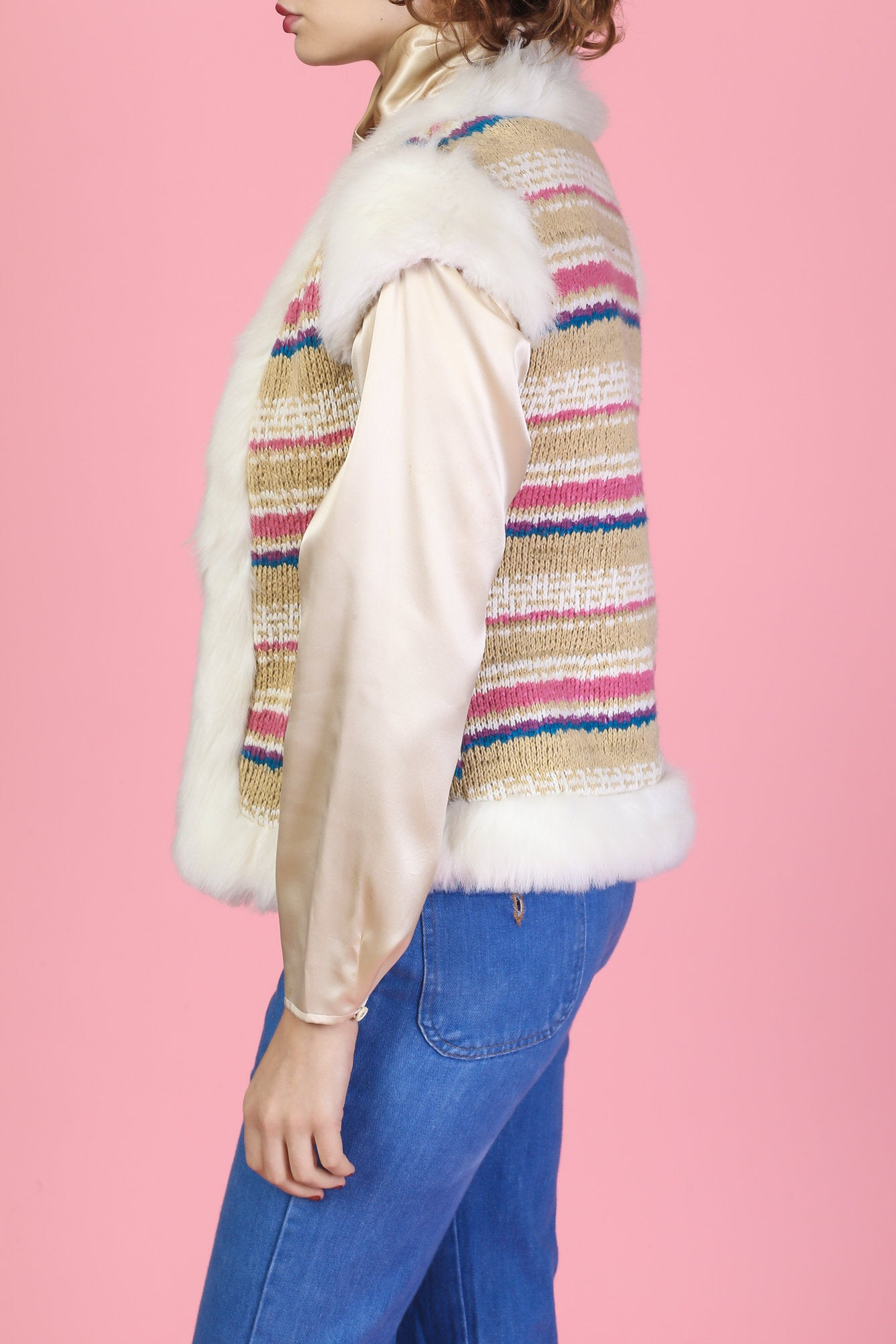 90s Faux Fur Knit Vest - XS to Small