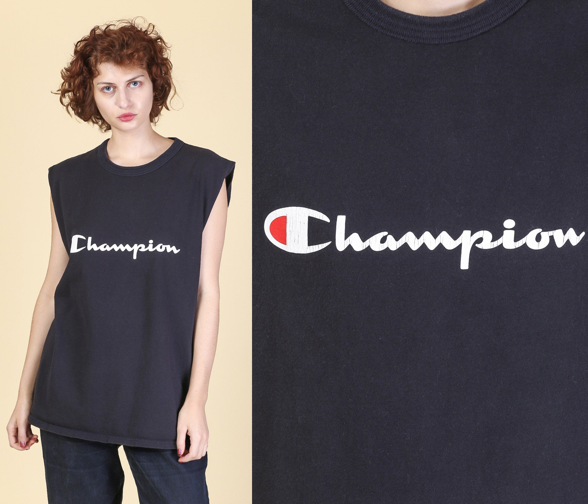 90s Champion Low Armhole Muscle Shirt - Men's Large