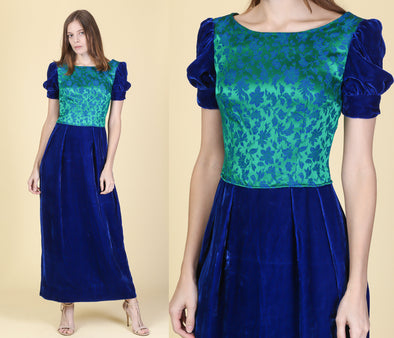 60s Velvet Brocade Renaissance Maxi Dress - Small