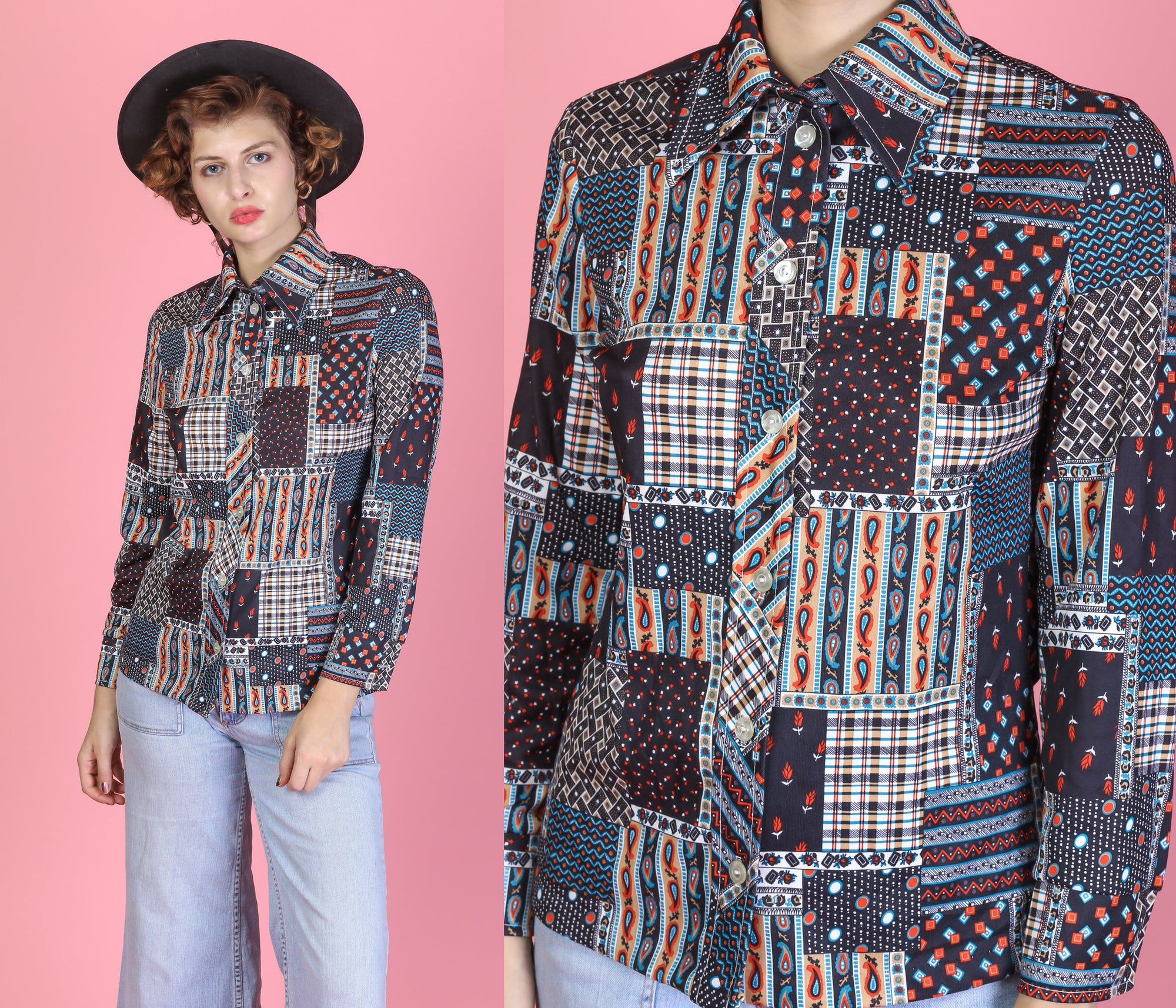 70s Patchwork Paisley Disco Shirt - Small