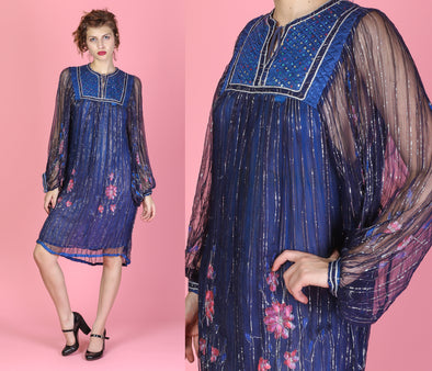 70s Indian Sheer Gauze Metallic Festival Dress - One Size