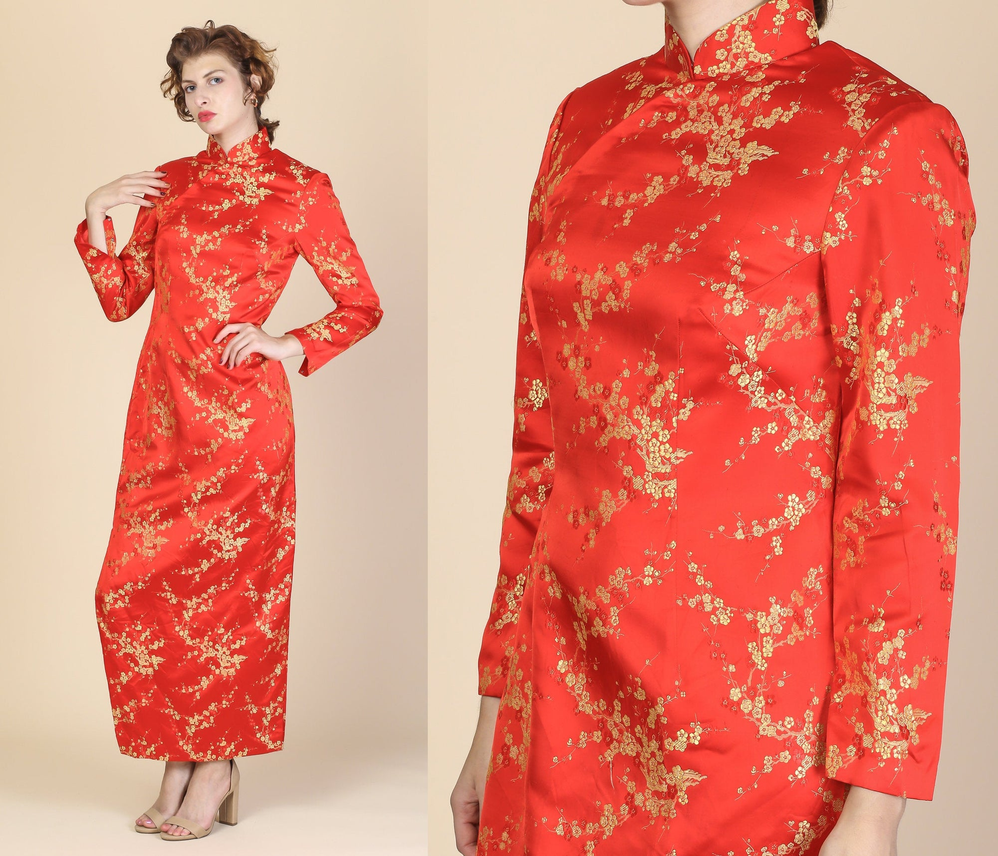 Vintage Red Cheongsam Maxi Dress - Medium