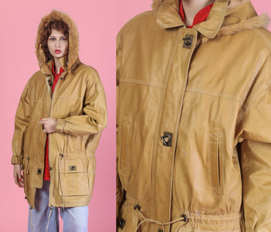 90s Leather Hooded Duffel Coat - Large