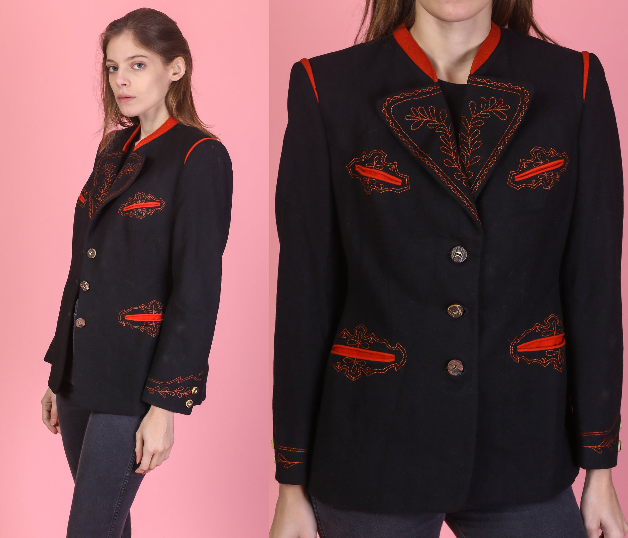 Vintage 40s 50s Embroidered Western Blazer Jacket - Small