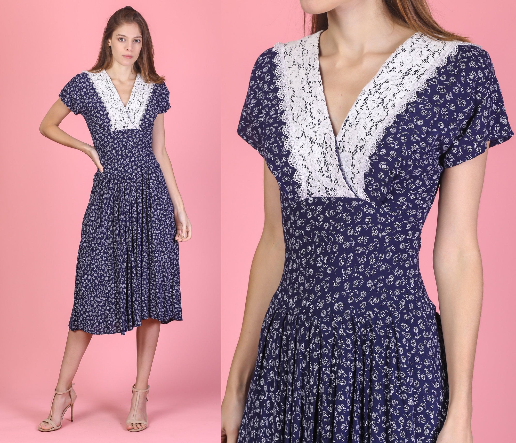 80s Navy Blue Floral Lace Collar Dress - Extra Small
