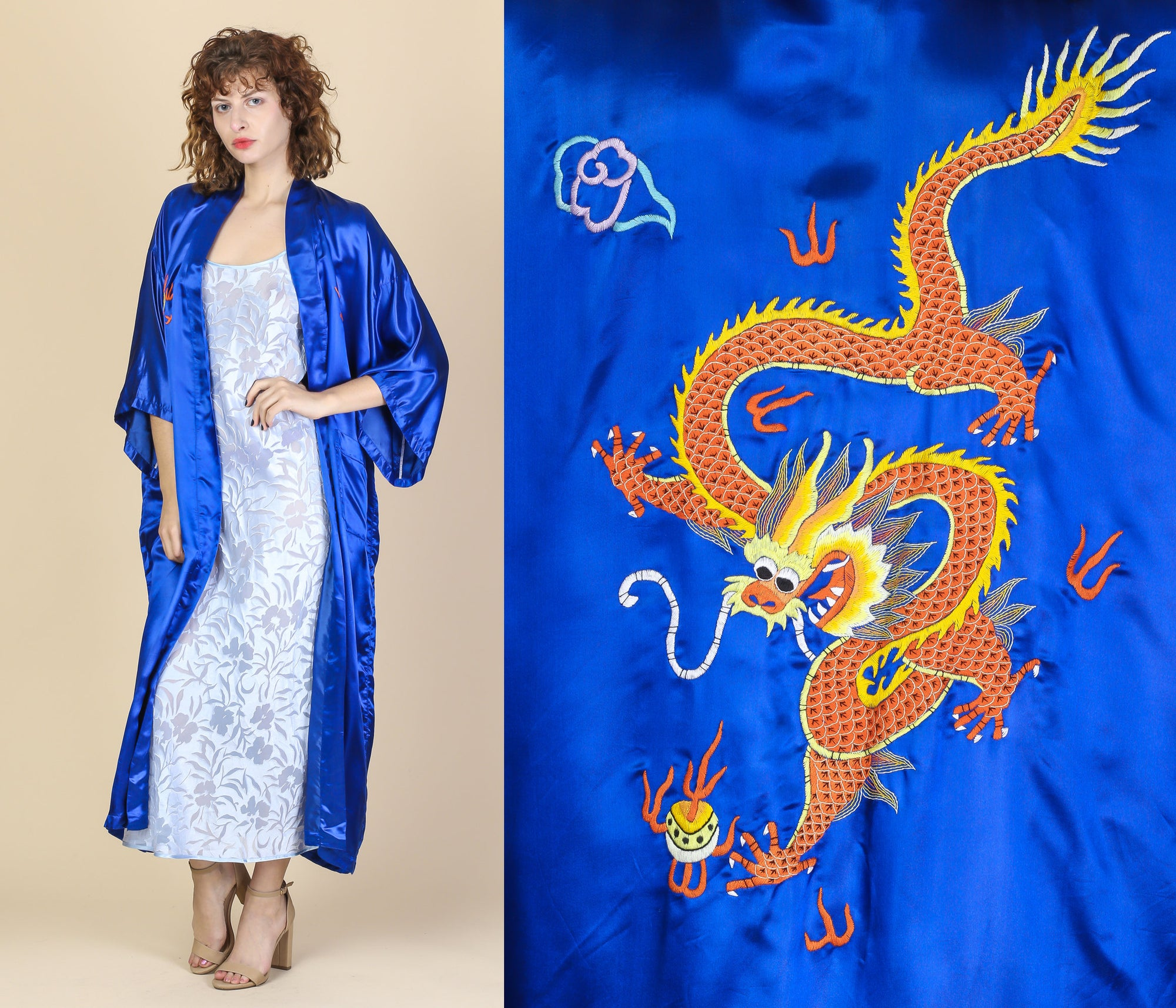 Vintage Silk Embroidered Dragon Robe - One Size