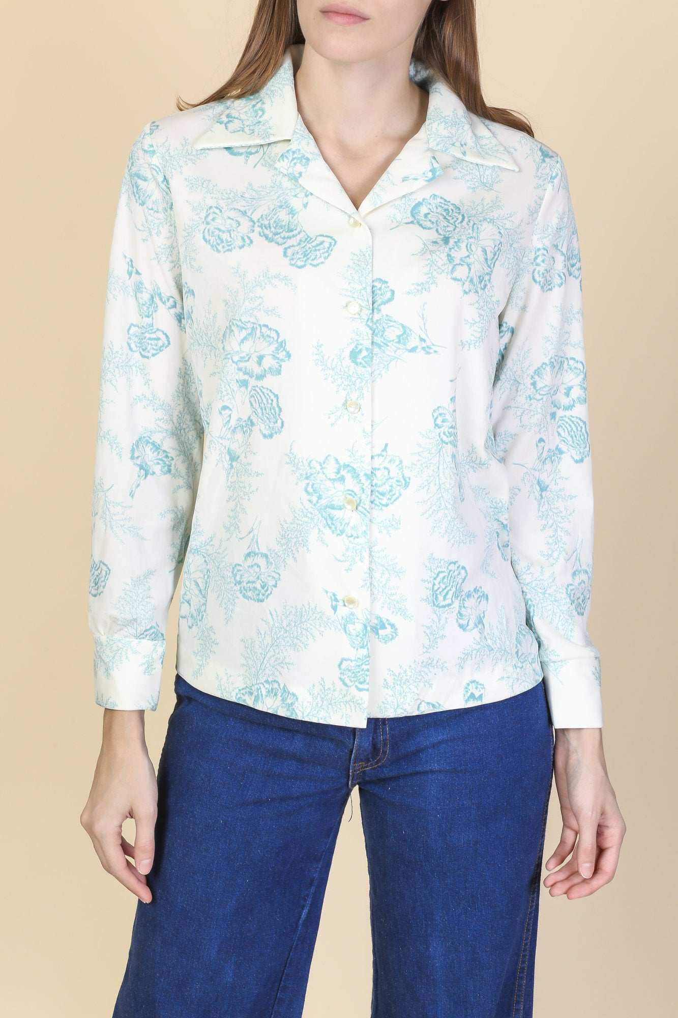 70s Floral Collared Shirt - Small