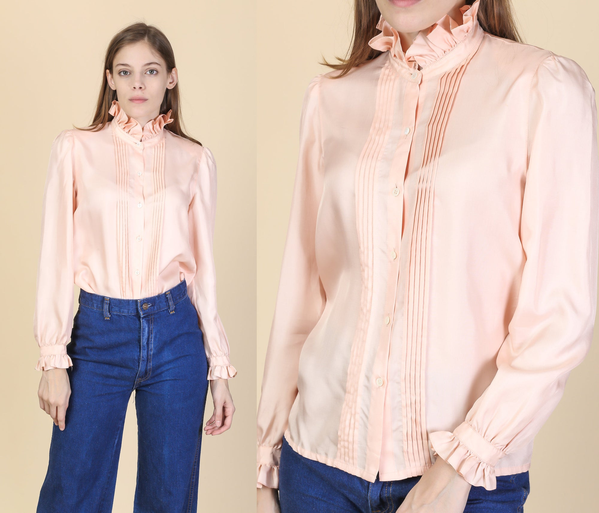 Vintage Victorian Pink Ruffle Collar Blouse - Small