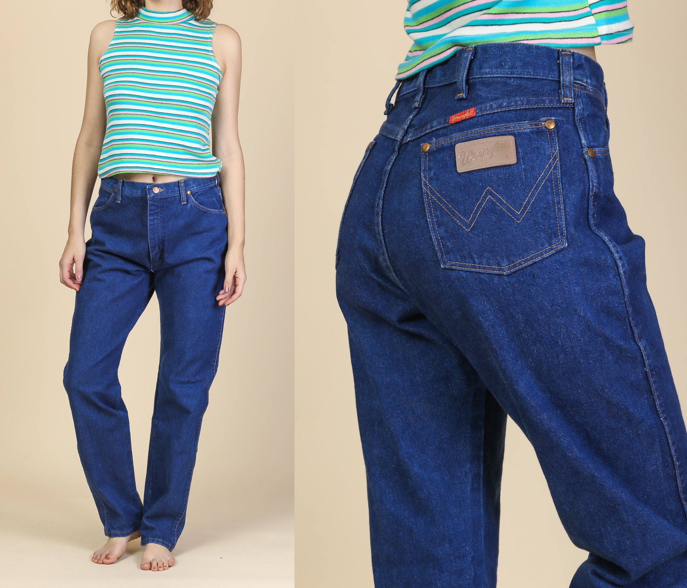 7e6264ad 80s Wrangler Jeans - Medium to Large, 31 – Flying Apple Vintage