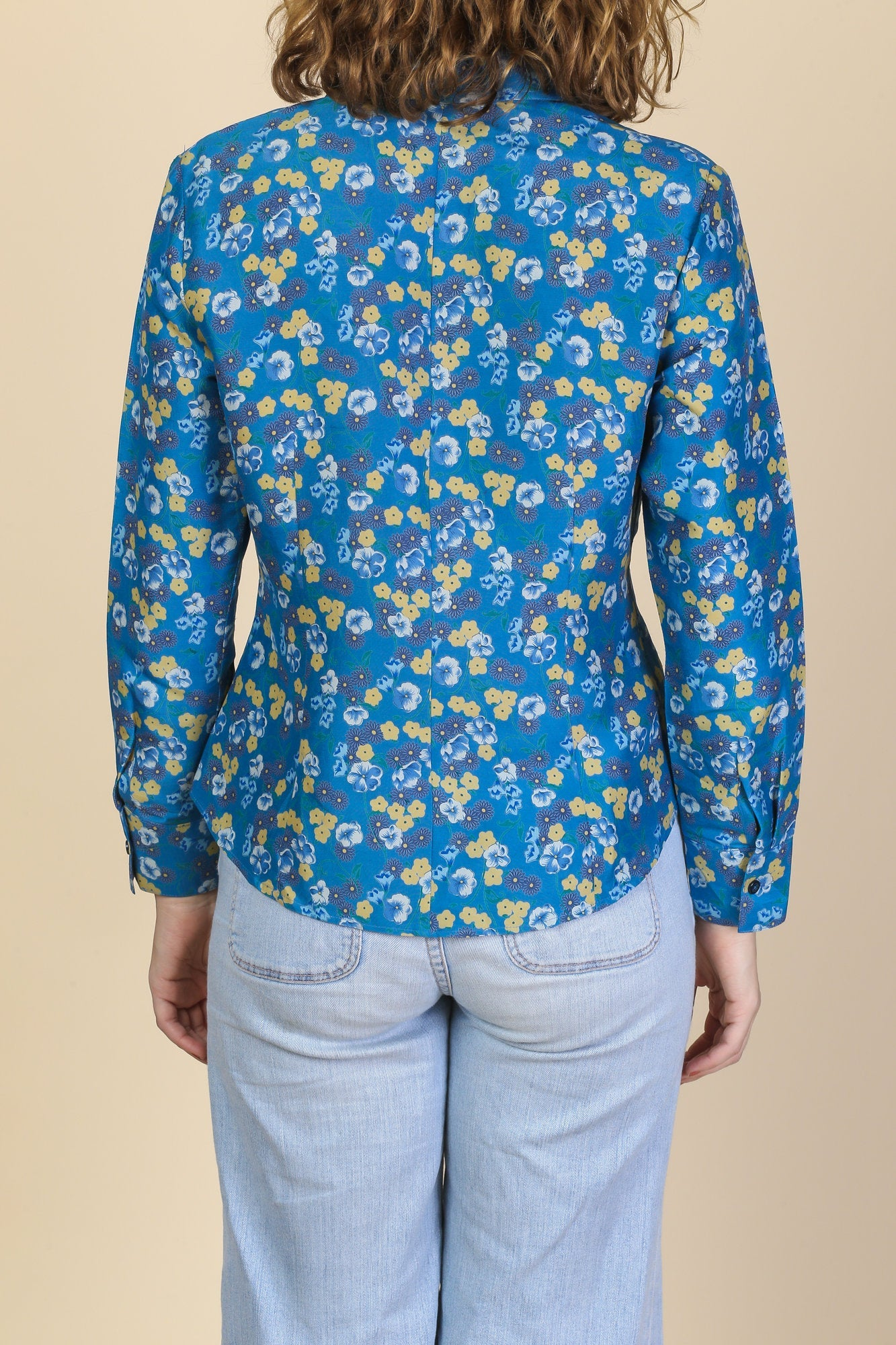 70s Boho Floral Collared Shirt - Small