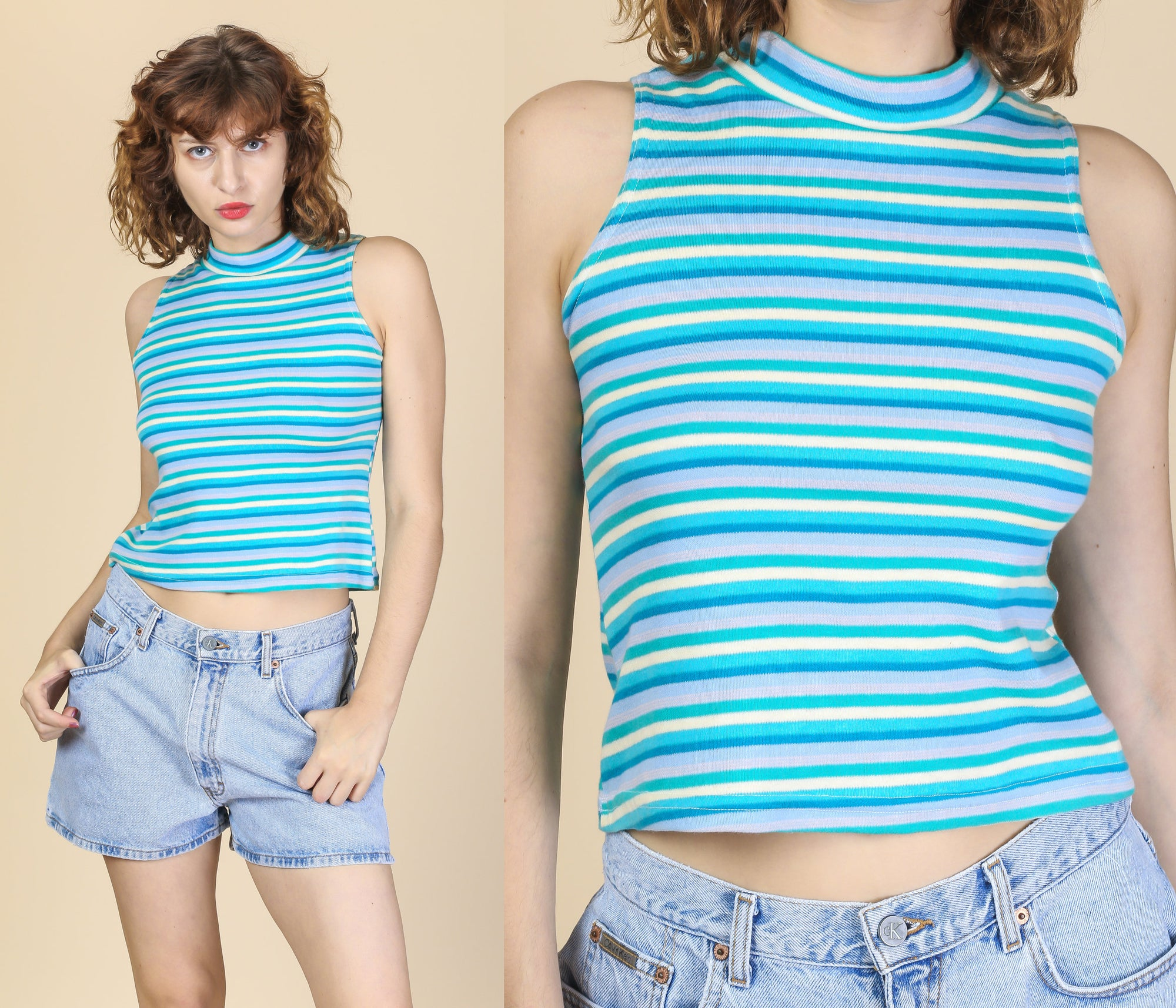 80s 90s Blue Striped Crop Top - Medium to Large
