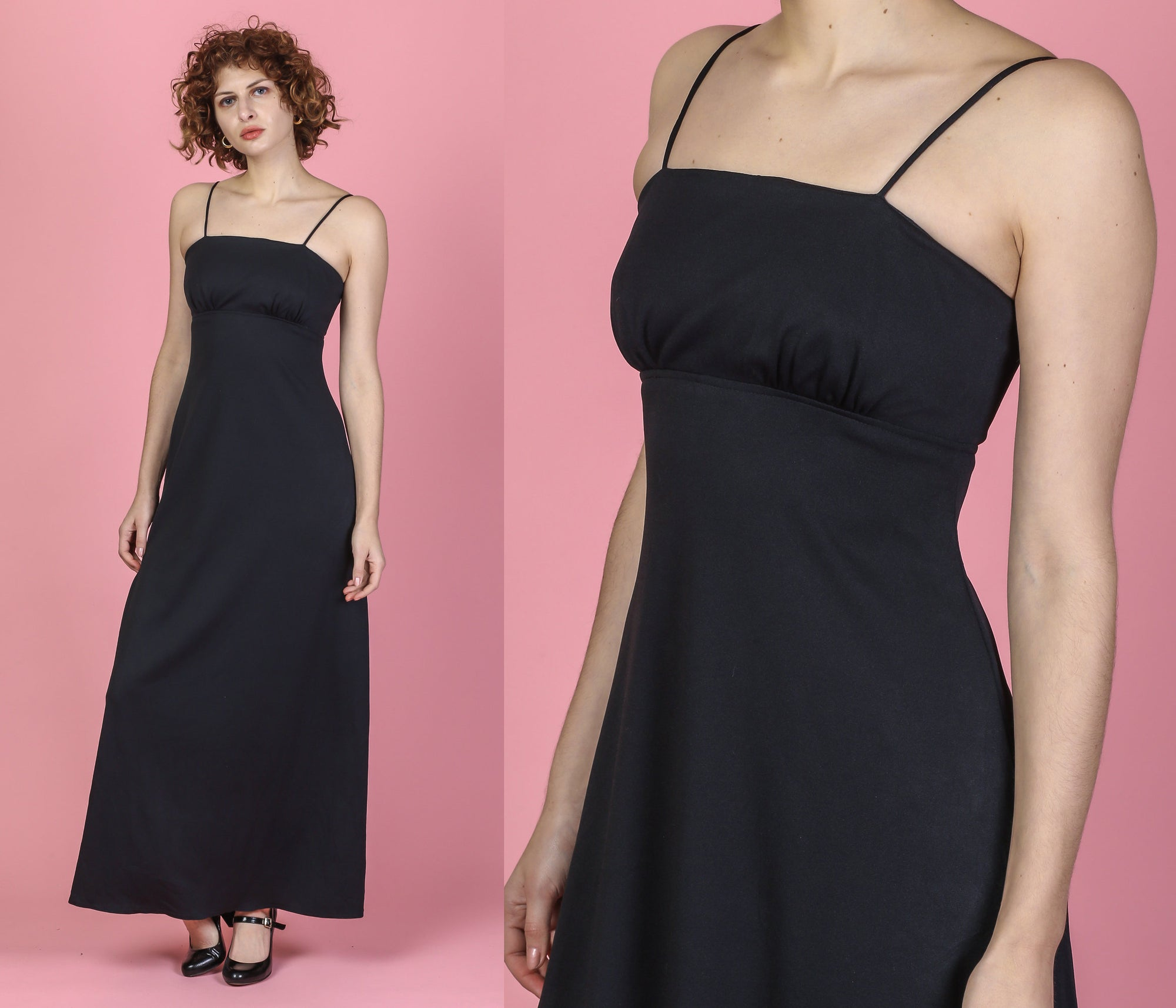 70s Black A Line Maxi Gown - XS to Small