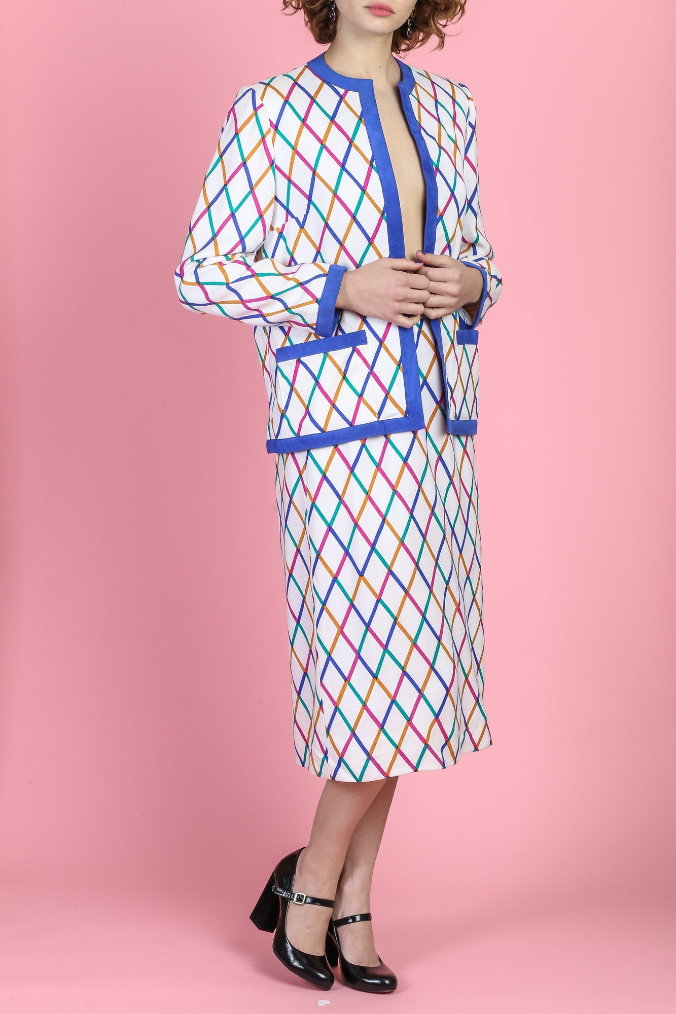 Vintage 80s Diamond Rainbow Skirt Suit Set - Large
