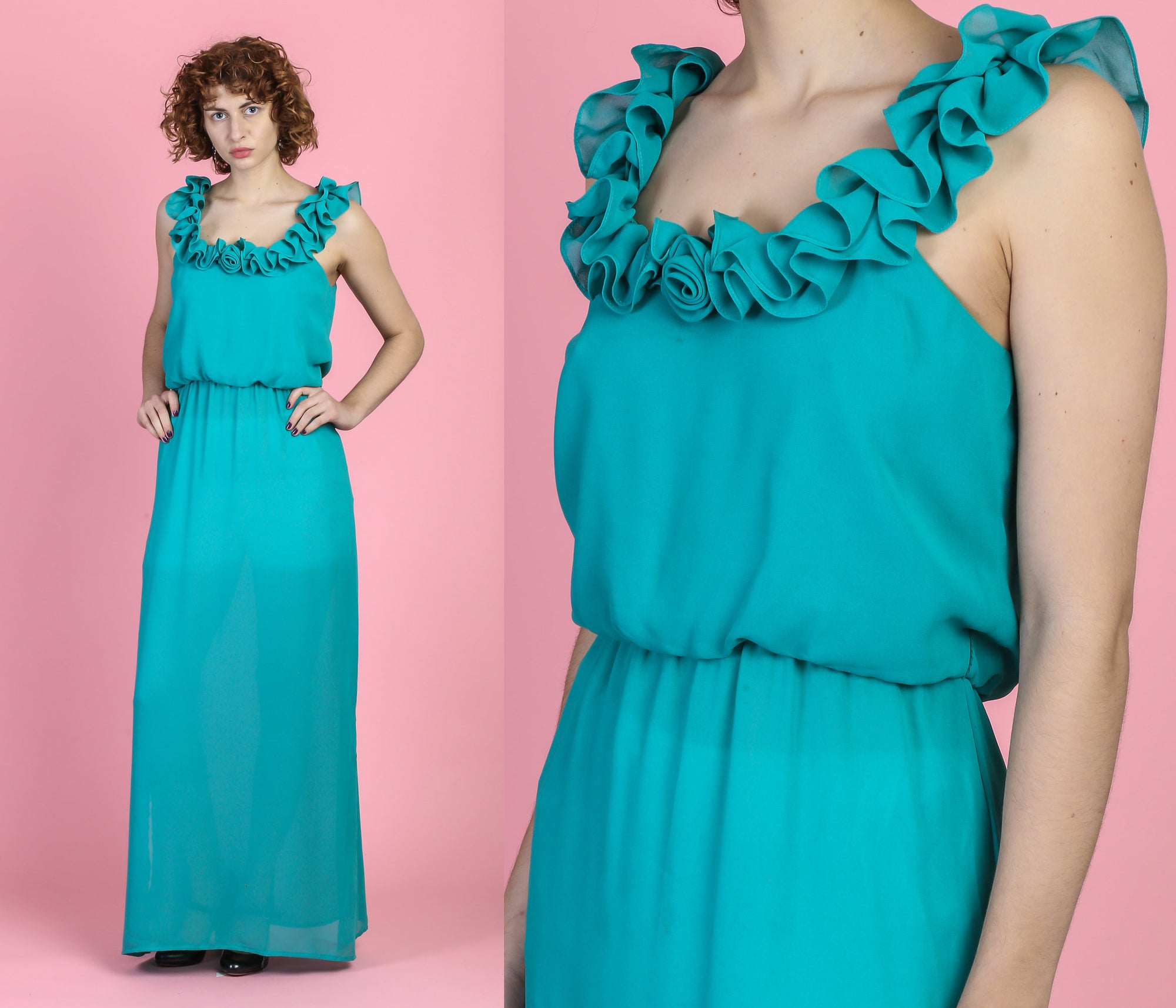 70s Turquoise Lounge Dress - Medium