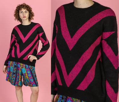 Vintage Pink Black Chevron Striped Sweater - Medium