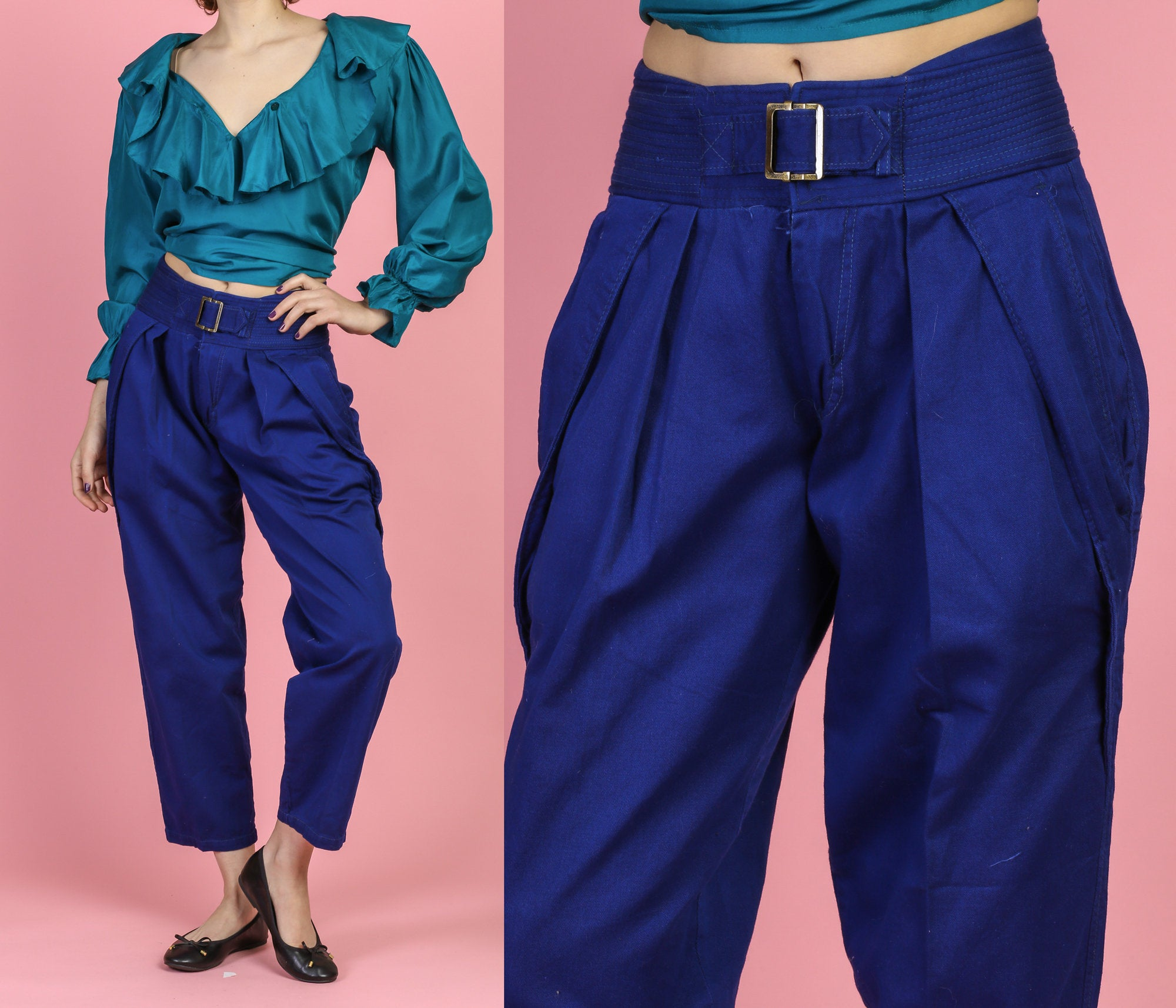 Vintage High Waisted Royal Blue Belted Pants - Small to Medium
