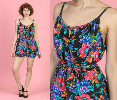 80s Floral Belted Swimsuit Romper - Extra Large