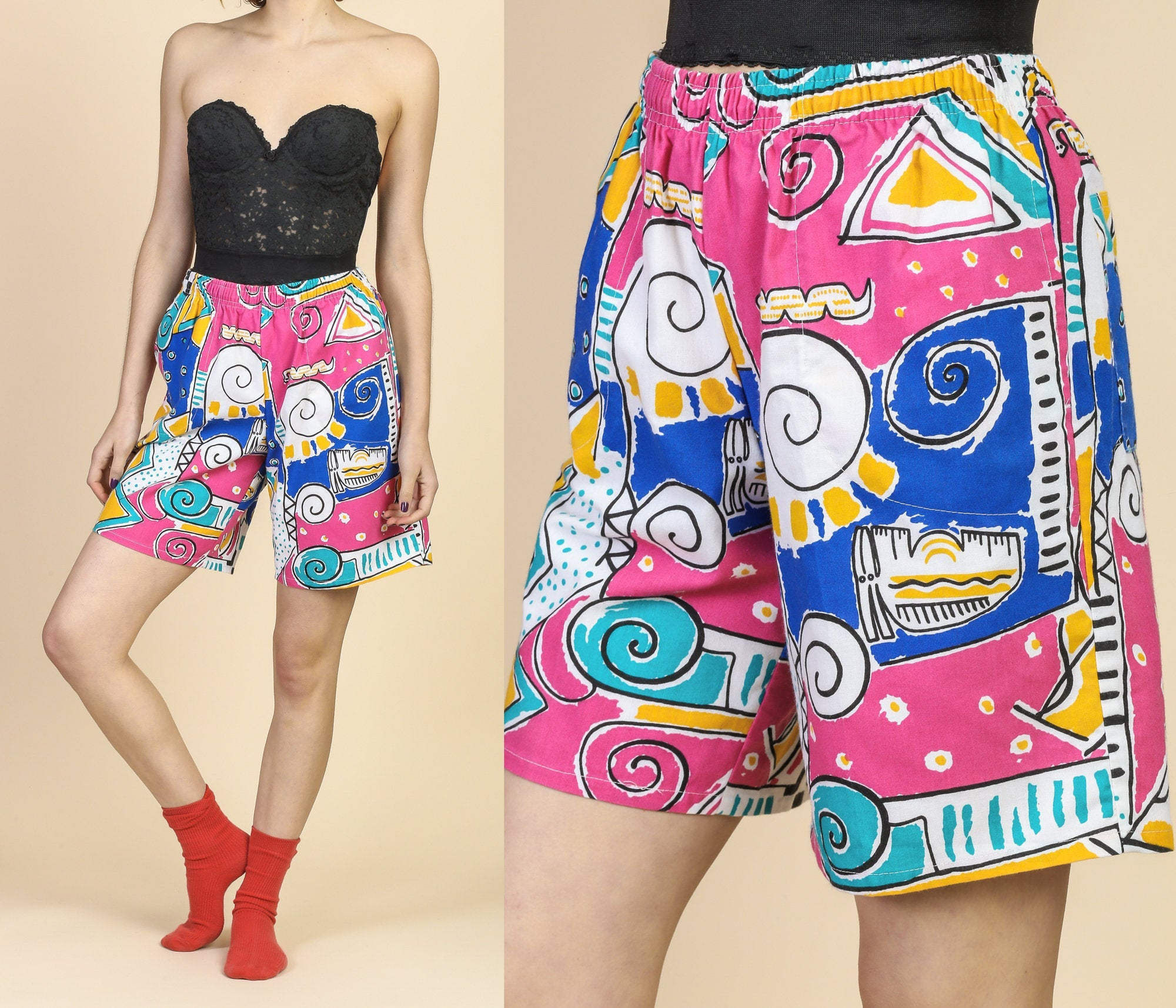 80s Geometric Piano Shorts - Small to Medium
