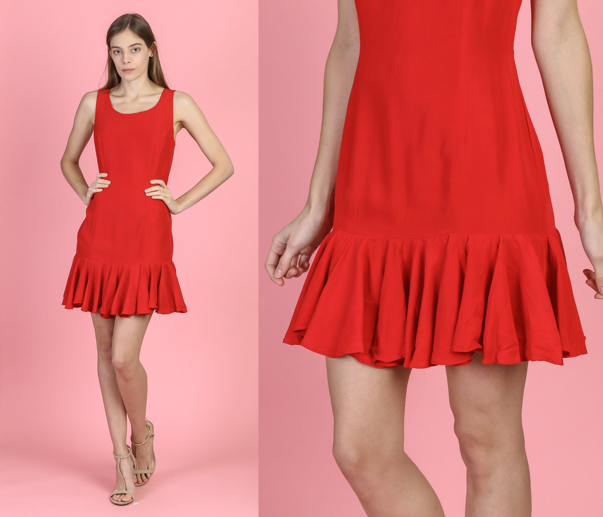 90s Red Ruffle Hem Party Dress - Small