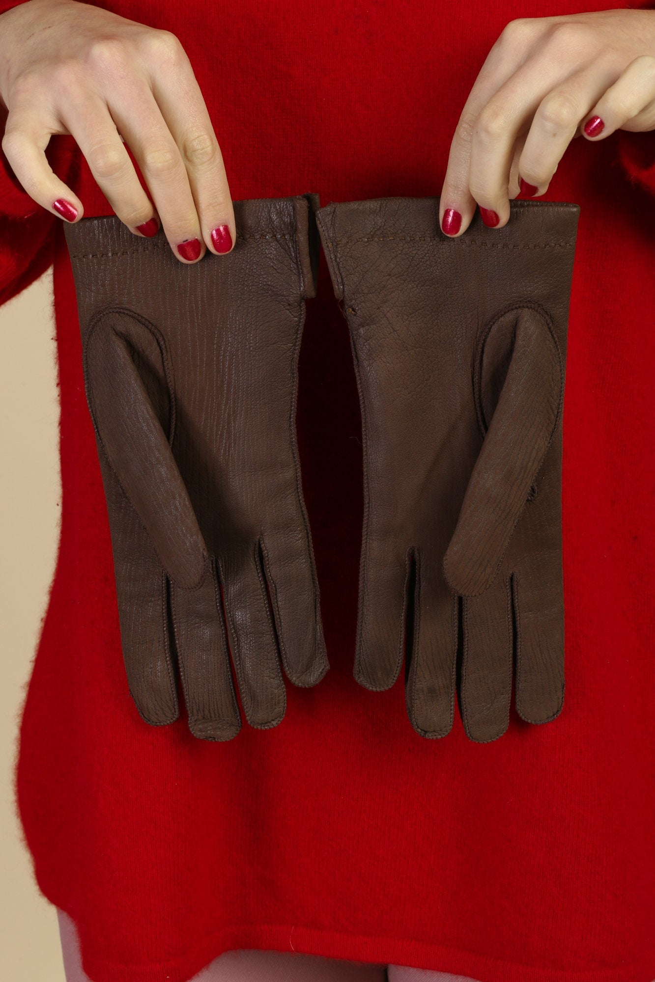 Vintage Brown Leather Winter Driving Gloves - 8