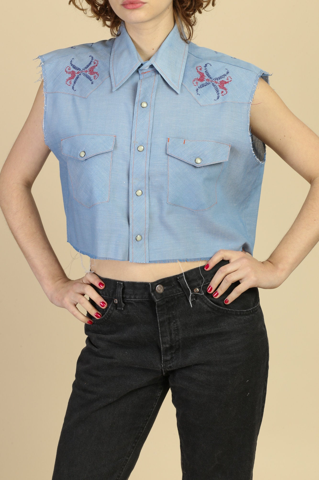 Vintage Chambray Western Cut Off Crop Top - Extra Large