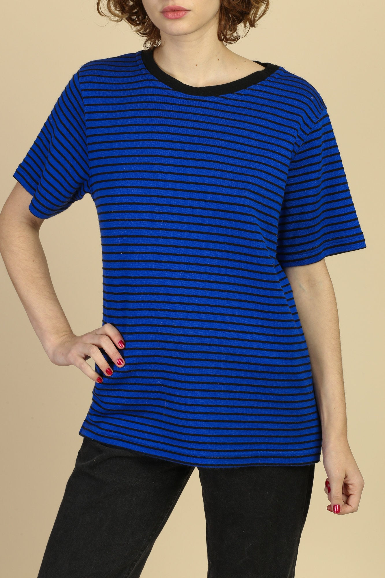 80s Electric Blue Striped Top - Large